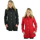 Jessica Simpson Women's Military Inspired Button Wool Coat Jacket