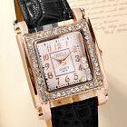 Fashion Women's Crystal Decorated Girl's Square Analog Quartz Wrist Watch