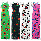 AE88 Ladies Floral Print Dress Womens Strap Muscle Racer Back Stretch Bodycon