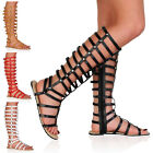 Womens Strappy Ladies Tall High Leg Flat Party Gladiator Sandals Size 4-9
