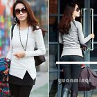 Hot Womens Girls Button O-Neck Long Sleeve Solid 6 Color T-Shirt Tops Size S M L