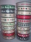 Berisfords Christmas Ribbons  Assorted Designs Merry - Snowflake - Star