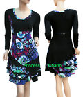 Tunic Patch Day Dress Black Blue Pink Green White Prints Long Sleeve SZ 10 14 18