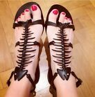 Gladiator Womens Fishbone Decor Ankle Strappy Flat Heels Sandals High Quality