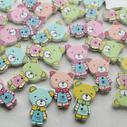 E580 Cute Bear Wood Buttons Sewing Kid's Craft Mix Lots Scrapbooking 50/250pcs