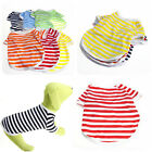 Newest!! Chic Cute Pet Puppy Dog Cat Clothes Crew Neck Stripe T-Shirts Tee XS~XL