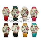 Vintage Women Lady Floral Rose Dial Pu Leather Strap Quartz Anlog Wrist Watch