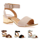 New Ladies Strappy Womens Block Low MetallicHeel Peep Toe Sandals Shoes Size 3-8