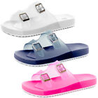 Double Buckle Flexi Rubber Flip Flops Summer Beach Wedge Mules Womens Size  Wome