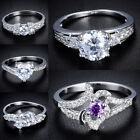 Size 7,8,9 Jewelry White Sapphire 18K White Gold Filled Ring Brilliant Brand New