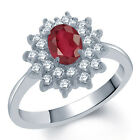 1.72 Ct Oval Natural African Red Ruby 925 Sterling Silver Ring