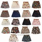New Ladies Women Pleated Floral Chiffon Cute Elastic Mini Skirt + Belt 18 Colors