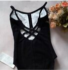 NWT Women Girls Black Leotard Gymnastic Dancewear Activewear Suit Fitness M-XXL