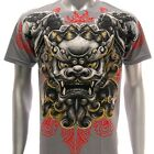 a63g Artful T-shirt M L XL  XXL Tattoo Skull Lion Singha Wealth Symbol Skate Men