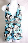 WOMENS PURE PARADISE FLORAL BLUE AND BLACK BRA SIZED TOP SWIMWEAR 34D OR 36C NWT
