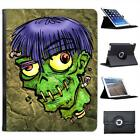 Zombie Monster With Worms In Head Halloween Folio Leather Case For iPad 2, 3 & 4