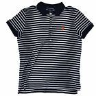 Ralph Lauren Sport Polo Shirt Womens Slim Fit Interlock Navy Blue Striped V327