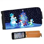 Snowman Family Decorating Xmas Tree Leather Flip Case for Apple iPhone 5s