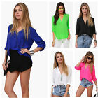 Fashion Women Sexy Chiffon V-Neck T Shirt Blouse Stand Collar Long Sleeve Tops