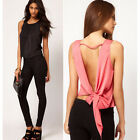 Sexy Fashion Womens Blouse Tie Open Back Sleeveless Tank Tops Shirt Size 8 10 12