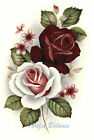 Ceramic Decals Burgundy & White/Pink Roses Floral Bouquet image