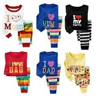 Kids LOVE Sleepwear Long Sleeve Top+Stripe Pants Bottoms Pyjama Outfit Set 6M-6Y