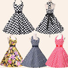 Pin Up Swing 40s 50s Retro Polka Dot Floral Vintage Dress New Evening