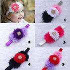 Mix flower shabby Chiffon shiny button elastic FOE headband baby hair accessory