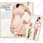 97k WOMEN SEXY STRETCH STRAPLESS BEADED ROSES STRASS DRESS GWF-3255