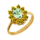 1.50 Ct Oval Green Amethyst Yellow Sapphire 18K Yellow Gold Ring