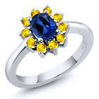 1.50 Ct Oval Blue Created Sapphire Yellow Sapphire 925 Sterling Silver Ring