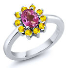 1.45 Ct Oval Pink Mystic Topaz Yellow Sapphire 925 Sterling Silver Ring