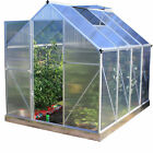 Woodside Aluminium Polycarbonate Greenhouse with Foundation and Hinged Door