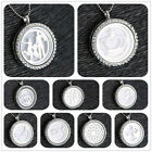 Sliver Living Memory Floating Charm Glass Locket Pendant Necklace+ Charm+Chain