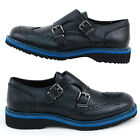 GBX Mens Double Monk Strap Wing Tip Slip on Loafers Dandy Comfy Genuine Leather