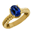 2.15 Ct Oval Blue Simulated Sapphire 925 Yellow Gold Plated Silver Ring