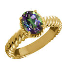 2.30 Ct Oval Green Mystic Topaz 925 Yellow Gold Plated Silver Ring