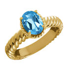 2.20 Ct Oval Swiss Blue Topaz 925 Yellow Gold Plated Silver Ring