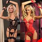 Sexy Lingerie Women Lace Dress+ G string+ Handcuff+ Garter Belt Red Black SH