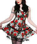 LIVING DEAD SOULS Banned Skulls Roses DRESS Mini BLACK