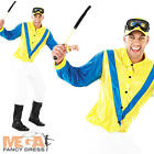 Jockey Mens Fancy Dress Horse Racing Sports Adults Costume Polo Outfit + Cap New
