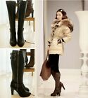 Women's Genuine Leather Knee Knight Boots Round Toe Chunky Heels Side Zip Winter