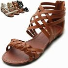 ollio Women's Shoes Gladiator Strappy Zip Closure Multi Color Sandals