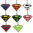 Super Hero Superman Logo Colorful PVC Pendant Key Ring Chain