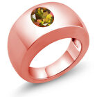 2.30 Ct Oval Mango VS Mystic Topaz 18K Rose Gold Men's Solitaire Ring