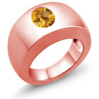 1.60 Ct Oval Checkerboard Yellow VS Citrine 18K Rose Gold Men's Solitaire Ring