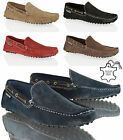 MENS LAMBRETTA SUEDE LEATHER CASUAL SLIP ON MOCCASINS DRIVING BROWN SHOES SIZE