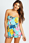 Boohoo Womens Ladies Amy Bandeau Floral Playsuit Summer Dress Jumpsuit Shorts