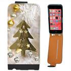 Gold Christmas Tree Decoration Bells & Stars Leather Flip Case for iPhone 5C