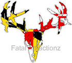 Maryland Flag Zombie Deer Skull Vinyl Sticker Decal buck hunting MD state bow